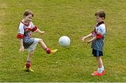 3 July 2015; Cullen, 5, left, and Éanna O'Keeffe, 6, from Cabinteely, pictured at the very first 'Kellogg's Powering Play' workshop, a new fun game based nutritional module that is being piloted by Kellogg's and the GAA this summer at selected Cúl Camps to help promote the benefits of physical activity and eating well. Cuala GAA Club, Dalkey, Co. Dublin. Picture credit: Piaras Ó Mídheach / SPORTSFILE