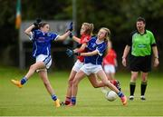 4 July 2015; Eve Mullins, Cork, in action against Emma Halton, left, and Niamh Keenaghan, Cavan. All Ireland Ladies Football U14 'A' Championship, Cavan v Cork. Banagher, Co. Offaly. Picture credit: Paul Mohan / SPORTSFILE