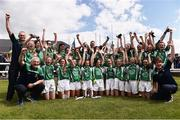 4 July 2015; The Limerick players and coaching staff celebrate at the end of the game. All Ireland Ladies Football U14 'C' Championship, Derry v Limerick. Ballymahon, Co. Longford. Picture credit: David Maher / SPORTSFILE