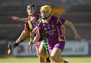 4 July 2015; Louise O'Leary, right, and Siona Nolan, Wexford, in action against Rebecca Noonan, Limerick. Liberty Insurance Camogie Championship, Wexford v Limerick. Innovate Wexford Park, Wexford. Picture credit: Matt Browne / SPORTSFILE