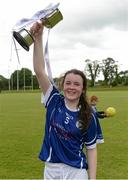 4 July 2015; Cavan captain Lauren McVeety celebrates with the cup. All Ireland Ladies Football U14 'A' Championship, Cavan v Cork. Banagher, Co. Offaly. Picture credit: Paul Mohan / SPORTSFILE
