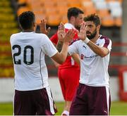 4 July 2015; Juanma Delgado, right, and team mate Osman Sow, celebrate the 4th goal for Hearts in the 90th minute. Shelbourne. Pre-season Friendly, Shelbourne F.C. v Heart of Midlothian F.C., Tolka Park, Dublin. Picture credit: Ray McManus / SPORTSFILE