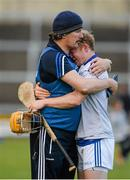 4 July 2015; Laois manager Séamus Plunkett consoles corner-back Brian Stapleton, after the game. GAA Hurling All-Ireland Senior Championship, Round 1, Laois v Dublin. O'Moore Park, Portlaoise, Co. Laois. Picture credit: Dáire Brennan / SPORTSFILE