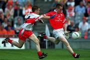 20 August 2000; Declan Barron, Cork, in action against Martin O'Kane, Derry. Cork v Derry, All Ireland Minor Football Semi Final, Croke Park, Dublin. Picture credit; Aoife Rice/SPORTSFILE