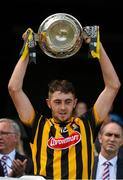 5 July 2015; Daniel O'Connor, Kilkenny minor captain, lifts the cup at the end of the game after victory over Dublin.  Electric Ireland Leinster GAA Hurling Minor Championship Final, Kilkenny v Dublin. Croke Park, Dublin. Picture credit: David Maher / SPORTSFILE