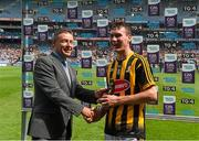 5 July 2015; Pictured is Tony Dunlea, Manager Business Markets Sales, Electric Ireland, proud sponsor of the GAA All-Ireland Minor Championships, presenting Richie Leahy, from Kilkenny, with the Player of the Match award for his outstanding performance in the Electric Ireland Munster Minor Football Championship Final. Throughout the Championship fans can follow the action, support the Minors and be a part of something major through the hashtag #ThisIsMajor. Croke Park, Dublin. Picture credit: Ray McManus / SPORTSFILE