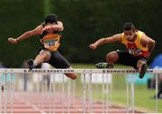 5 July 2015; Andrew Creamer, Annalee A.C, Co. Cavan, left, and Joshua Essuman, Tallaght A.C, Co. Dublin, competing in the U23 Men's 110m Hurdles during the GloHealth Junior and U23 Championships of Ireland. Harriers Stadium, Tullamore, Co. Offaly. Picture credit: Seb Daly / SPORTSFILE