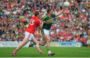5 July 2015; Marc Ó Sé, Kerry, in action against Colm O'Neill, Cork. Munster GAA Football Senior Championship Final, Kerry v Cork. Fitzgerald Stadium, Killarney, Co. Kerry. Picture credit: Eoin Noonan / SPORTSFILE