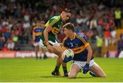 5 July 2015; Morgan Irwin, Tipperary, in action against Micheal Foley, Kerry. Electric Ireland Munster GAA Football Minor Championship Final, Kerry v Tipperary. Fitzgerald Stadium, Killarney, Co. Kerry. Picture credit: Eoin Noonan / SPORTSFILE