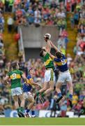 5 July 2015; Mark O'Connor, Kerry, in action against Jack Kennedy, Tipperary. Electric Ireland Munster GAA Football Minor Championship Final, Kerry v Tipperary. Fitzgerald Stadium, Killarney, Co. Kerry. Picture credit: Eoin Noonan / SPORTSFILE