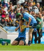 5 July 2015; Ciarán Dowling, right, Dublin, consoles team-mate Matthew Oliver, after the game. Electric Ireland Leinster GAA Hurling Minor Championship Final, Kilkenny v Dublin. Croke Park, Dublin. Picture credit: Dáire Brennan / SPORTSFILE