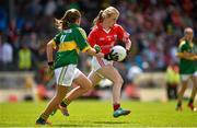 5 July 2015; Áine O'Driscoll, Inch NS, Cork, in action against Róisín Griffin, SN Gleann Beithe, Kerry, during the Munster GAA Primary Game. Munster GAA Football Senior Championship Final, Kerry v Cork. Fitzgerald Stadium, Killarney, Co. Kerry Picture credit: Brendan Moran / SPORTSFILE