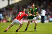 5 July 2015; Emmett O'Shea, Fossa NS, Kerry, is tackled by Colm Murphy, Carraig na bhFear NS, Cork, during the Munster GAA Primary Game. Munster GAA Football Senior Championship Final, Kerry v Cork. Fitzgerald Stadium, Killarney, Co. Kerry. Picture credit: Stephen McCarthy / SPORTSFILE