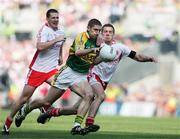 21 September 2008; Killian Young, Kerry, in action against Colin Holmes and Philip Jordan, Tyrone. GAA Football All-Ireland Senior Championship Final, Kerry v Tyrone, Croke Park, Dublin. Picture credit: Oliver McVeigh / SPORTSFILE