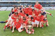 28 September 2008; The Cork team celebrate with the Brendan Martin Cup after the game. TG4 All-Ireland Ladies Senior Football Championship Final, Cork v Monaghan, Croke Park, Dublin. Picture credit: Brendan Moran / SPORTSFILE