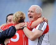 28 September 2008; Cork head coach Eamonn Ryan, celebrates with Valerie Mulcahy at the end of the game. TG4 All-Ireland Ladies Senior Football Championship Final, Cork v Monaghan, Croke Park, Dublin. Picture credit: David Maher / SPORTSFILE