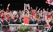 28 September 2008; Cork captain Angela Walsh lifts the Brendan Martin Cup after victory over Monaghan. TG4 All-Ireland Ladies Senior Football Championship Final, Cork v Monaghan, Croke Park, Dublin. Picture credit: Brendan Moran / SPORTSFILE
