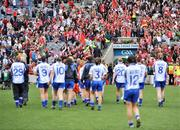 28 September 2008; Cork players celebrate as Monaghan players and staff walk off the pitch at the end of the game. TG4 All-Ireland Ladies Senior Football Championship Final, Cork v Monaghan, Croke Park, Dublin. Picture credit: David Maher / SPORTSFILE