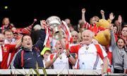 28 September 2008; Cork manager Jim McEvoy, left, and coach Eamonn Ryan lift the Brendan Martin cup after the game. TG4 All-Ireland Ladies Senior Football Championship Final, Cork v Monaghan, Croke Park, Dublin. Picture credit: Brendan Moran / SPORTSFILE