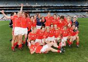 28 September 2008; The Cork team celebrate on the pitch after the game. TG4 All-Ireland Ladies Senior Football Championship Final, Cork v Monaghan, Croke Park, Dublin. Picture credit: Ray McManus / SPORTSFILE