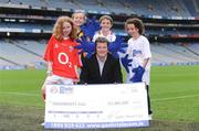 30 September 2008; The love for, and pride in, the GAA, which is shared by thousands of GAA fans around the country, is responsible for raising 3.4 million euro for GAA clubs and schools over the past four years. This innovative but simple scheme sees 15% of call costs being donated back to customers' preferred club or school, while at the same time saving them money on their home phone and Broadband bills. All 32 County Boards support the scheme which sees 2,500 Clubs around the country receive cheques from Gaelic Telecom twice a year. Pictured at the announcement is Ciaran Doyle, General Manager, Gaelic Telecom, with from left, Aoife McSharry, age 10, Cork, whose county raised 64,400 euros, Sophie Goulding, Kilkenny, whose county raised 12,300 euros, Ashley Sweeney age 9, Tyrone, whose county raised 26,700 euros, and Abbey Keely, age 9, from Dublin. Croke Park, Dublin. Picture credit: Brendan Moran / SPORTSFILE