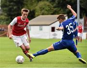 9 July 2015; Chris Forrester, St Patrick's Athletic, in action against Vladislavs Sorokins, Skonto Riga. UEFA Europa League First Qualifying Round 2nd leg, St Patrick's Athletic v Skonto Riga. Richmond Park, Inchicore, Dublin. Picture credit: David Maher / SPORTSFILE