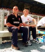 18 June 2000: Derry manager Eamonn Coleman, left, along with assistant manager Damien Cassidy on the sideline during the game. Derry v Antrim, Ulster Football Championship, Casement Park, Belfast. Picture credit: Oliver McVeigh / SPORTSFILE