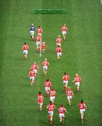 28 September 2008; Members of the Cork panel run to the bench for the traditional team picture. TG4 All-Ireland Ladies Senior Football Championship Final, Cork v Monaghan, Croke Park, Dublin. Picture credit: Ray McManus / SPORTSFILE