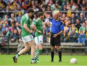 12 July 2015; Niall Cassidy, Fermamagh, is shown a black card by referee Cormac Reilly. GAA Football All-Ireland Senior Championship, Round 3A, Fermamagh v Roscommon, Brewster Park, Fermanagh. Picture credit: Paul Mohan / SPORTSFILE