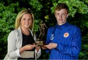 13 July 2015; Chris Forrester, St. Patrick's Athletic, who was presented with the SSE Airtricity Player of the Month Award for June 2015 by Leanne Sheill, from SSE Airtricity. Alsaa Sports Complex, Old Airport Road, Dublin. Picture credit: Piaras Ó Mídheach / SPORTSFILE