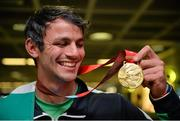 13 July 2015; Ireland's Thomas Barr pictured in Dublin Airport on his arrival home from the World University Games in Gwangju South Korea. Dublin Airport, Dublin. Picture credit: Piaras Ó Mídheach / SPORTSFILE