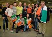 13 July 2015; Ireland's Thomas Barr pictured with family and supporters in Dublin Airport on his arrival home from the World University Games in Gwangju South Korea. Dublin Airport, Dublin. Picture credit: Piaras Ó Mídheach / SPORTSFILE