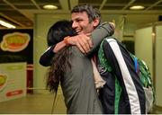 13 July 2015; Ireland's Thomas Barr pictured with his mother Martina in Dublin Airport on his arrival home from the World University Games in Gwangju South Korea. Dublin Airport, Dublin. Picture credit: Piaras Ó Mídheach / SPORTSFILE