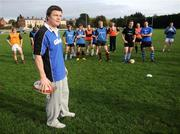12 October 2008; RAZOR SHARP SKILLS: Irish rugby legend Brian O'Driscoll pulled on his Gillette jersey as he hosted the 2008 Gillette Fusion Rugby Coaching Clinic at Wanderers Rugby Club. The Clinic saw 45 lucky participants gather from all parts of the country to take part in an exclusive days' coaching with the Irish Rugby Captain and Leinster star along with top Leinster coaches. To see all the action and top tips log on to www.gillettechampions.ie. At the clinic is Brian O'Driscoll. Wanderers Rugby Club, Merrion Road, Ballsbridge, Dublin. Picture credit: Brian Lawless / SPORTSFILE