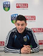14 July 2015; UCD player Gary O'Neill speaking at a UCD AFC Press Conference ahead of their Europa League Second Round tie against SK Slovan Bratislava on Thursday in Slovakia. UCD Bowl, Belfield, Dublin. Picture credit: Dáire Brennan / SPORTSFILE