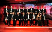 17 October 2008; The GAA All-Star Football Team of the Year, back row, from left, Gary Connaughton, Westmeath, Justin McMahon, Tyrone, Conor Gormley, Tyrone, Enda McGinley, Tyrone, Declan O'Sullivan, Kerry, Colm Cooper, Kerry, Kieran Donaghy, Kerry, Tomas O Se, Kerry, Davy Harte, Tyrone, and John Keane, Westmeath. Front row, from left, Brian Dooher, Tyrone, Shane Ryan, Dublin, Nickey Brennan, GAA President, Minister for Arts, Sport and Tourism, Martin Cullen T.D., Charles Butterworth, CEO Vodafone Ireland, Sean Cavanagh, Tyrone, Sinead Clarke accpeting on behalf of Ronan Clarke, Armagh, and Philip Jordan, Tyrone. 2008 GAA All-Stars sponsored by Vodafone, Citywest Hotel, Conference, Leisure & Golf Resort, Dublin. Picture credit: Ray McManus / SPORTSFILE