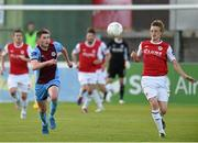 17 July 2015; Chris Forrester, St Patrick's Athletic, in action against Mark Hughes, Drogheda United. SSE Airtricity League, Premier Division, Drogheda United v St Patrick's Athletic. United Park, Drogheda, Co. Louth. Picture credit: Paul Mohan / SPORTSFILE