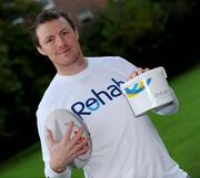 20 October 2008; Rehab has teamed up with some of Ireland's most prominent sporting figures in a unique fundraising initiative ahead of the Dublin City Marathon on Monday, 27th October, in which former Ireland and Leinster star, Eric Miller will be representing Rehab. The fundraising initiative will see the online auction on eBay of exclusive sporting memorabilia, donated by sporting stars like Leinster's Felipe Contepomi and Rob Kearney, Kilkenny legend, Brian Cody and the Munster Rugby team. Sports fans can log onto www.ebay.ie to bid for items such as Felipe Contepomi's signed Leinster Jersey, Rob Kearney's signed boots worn on his Leinster debut, Brian Cody's trademark peaked cap, which he wore when Kilkenny won their historic three in a row, a Munster jersey signed by the team and much more.  The auction will run from Monday, 20th October, with the bids closing on Saturday on October 25th. Fans who miss out but still want to directly contribute to Eric's marathon fundraising attempt can log onto www.mycharity.ie/event/ericmiller/. Pictured at the launch is former Leinster and Ireland rugby star Eric Miller. Fitzwilliam Square, Dublin. Picture credit: Stephen McCarthy / SPORTSFILE