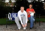 20 October 2008; Rehab has teamed up with some of Ireland's most prominent sporting figures in a unique fundraising initiative ahead of the Dublin City Marathon on Monday, 27th October, in which former Ireland and Leinster star, Eric Miller will be representing Rehab. The fundraising initiative will see the online auction on eBay of exclusive sporting memorabilia, donated by sporting stars like Leinster's Felipe Contepomi and Rob Kearney, Kilkenny legend, Brian Cody and the Munster Rugby team. Sports fans can log onto www.ebay.ie to bid for items such as Felipe Contepomi's signed Leinster Jersey, Rob Kearney's signed boots worn on his Leinster debut, Brian Cody's trademark peaked cap, which he wore when Kilkenny won their historic three in a row, a Munster jersey signed by the team and much more.  The auction will run from Monday, 20th October, with the bids closing on Saturday on October 25th. Fans who miss out but still want to directly contribute to Eric's marathon fundraising attempt can log onto www.mycharity.ie/event/ericmiller/. Pictured at the launch are former Leinster and Ireland rugby star Eric Miller and model Glenda Gilson. Fitzwilliam Square, Dublin. Picture credit: Stephen McCarthy / SPORTSFILE