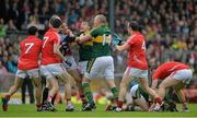 18 July 2015; Referee Maurice Deegan attempts to seperate Alan O'Connor, Cork, and Kieran Donaghy and James O'Conoghue, Kerry, after an incident between O'Connor and Paul Geaney, Kerry, right. Munster GAA Football Senior Championship Final Replay, Kerry v Cork, Fitzgerald Stadium, Killarney, Co. Kerry. Picture credit: Brendan Moran / SPORTSFILE
