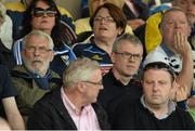 19 July 2015; RTE pundit Joe Brolly with his father Francie Brolly, left, at the game. Ulster GAA Football Senior Championship Final, Donegal v Monaghan, St Tiernach's Park, Clones, Co. Monaghan. Picture credit: Oliver McVeigh / SPORTSFILE
