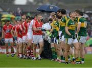 18 July 2015; Kerry and Cork players shake hands before the game. Munster GAA Football Senior Championship Final Replay, Kerry v Cork, Fitzgerald Stadium, Killarney, Co. Kerry. Picture credit: Brendan Moran / SPORTSFILE