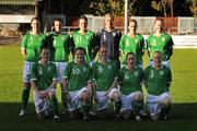 26 October 2008; The Republic of Ireland team, back from left, Ciara Grant, Niamh Fahey, Stefanie Curtis, Emma Byrne, Yvonne Treacy and Alisha Moran, with front from left, Aine O'Gorman, Michele O'Brien, Mary Therese McDonnell, Sonya Hughes and Meabh de Burca. Women's Euro 2009 Championship Play-Offs, 1st Leg, Republic of Ireland v Iceland, Richmond Park, Dublin. Picture credit: Brendan Moran / SPORTSFILE
