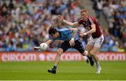 12 July 2015; Michael Darragh Macauley, Dublin, in action against Ray Connellan, Westmeath. Leinster GAA Football Senior Championship Final, Westmeath v Dublin, Croke Park, Dublin. Picture credit: Brendan Moran / SPORTSFILE