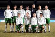30 October 2008; The Republic of Ireland team, back row, from left, Ciara Grant, Jemma O'Connor, Stefanie Curtis, Mary Therese McDonnell, Emma Byrne, Yvonne Tracy, Niamh Fahy. Front row, from left, Aine O'Gorman, Alisha Moran, Meabh de Burca, Michele O'Brien. Euro 2009 Championship Play-Offs, 2nd Leg, Iceland v Republic of Ireland, Laugardalsvöllur Stadium, Reykjavik, Iceland. Picture credit: Daniel Runarsson / SPORTSFILE