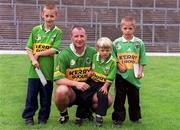 16 September 2000; Declan O'Keeffe of Kerry is pictured with from, left, are Thomas, 7years old, Killian, 4years old and Adrian 6years old, sons of Tom Spillane, former Kerry footballer during the Kerry Senior Football Press Night at Fitzgerald Stadium in Killarney, Kerry. Photo by Ray McManus/Sportsfile