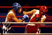 19 September 2000; Ireland's Michael Roche (right) lands a punch on Turkey's Firat Karagollu during his defeat in the Men's 71kg First Round. Sydney Exhibition Hall 3, Darling Harbour, Sydney, Australia. Photo by Brendan Moran/Sportsfile