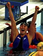 20 September 2000; USA's Misty Hymen celebrates winning the Gold medal in the Women's 200m butterfly and setting a new Olympic record. Aquatic Centre, Sydney Olympic Park. Homebush Bay, Sydney, Australia. Photo by Brendan Moran/Sportsfile