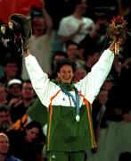 25 September 2000; Ireland's Sonia O'Sullivan with her silver medal after she came second in the Women's 5000m Final. Stadium Australia, Sydney Olympic Park. Homebush Bay, Sydney, Australia.. Photo by Brendan Moran/Sportsfile