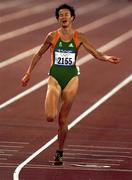 25 September 2000; Ireland's Sonia O'Sullivan crosses the finishing line to claim the silver medal in the Women's 5000m. Stadium Australia, Sydney Olympic Park. Homebush Bay, Sydney, Australia.  Photo by Brendan Moran/Sportsfile